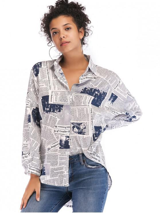 shop Newspaper Print Buttoned High Low Shirt - WHITE M