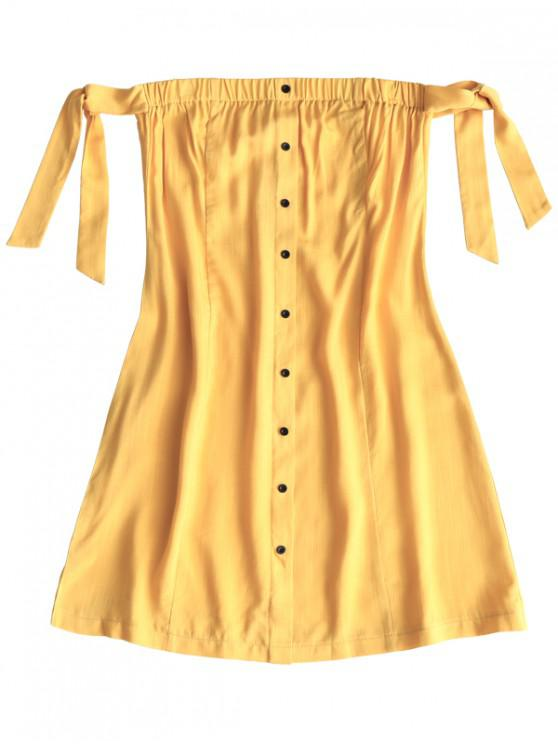 buy Tied Button Up Mini Dress - YELLOW M