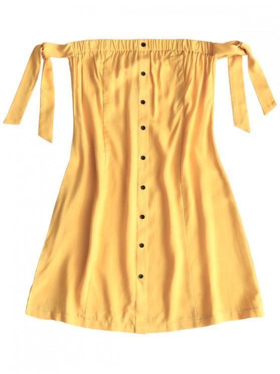 women Tied Button Up Mini Dress - YELLOW S