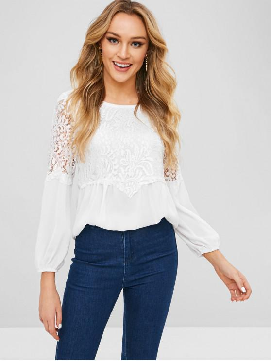 shop Lace Panel Round Neck Blouse - WHITE L