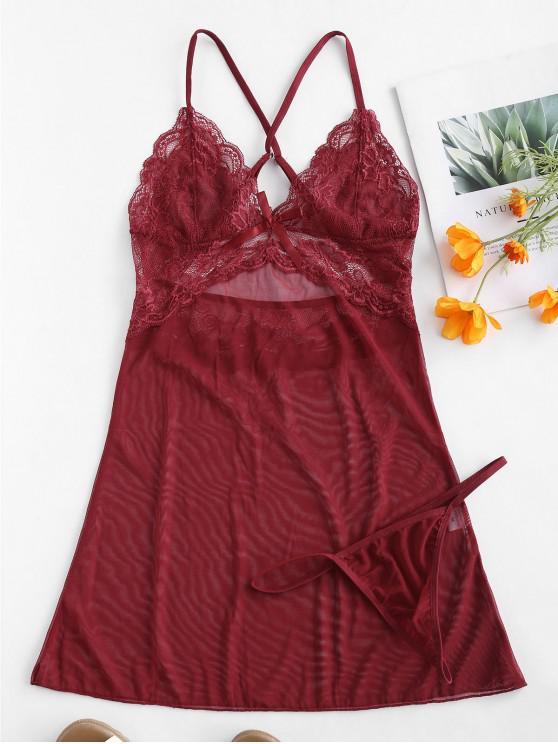 Vestido de lencería con aplicación de encaje de Bowknot de Criss Cross - Vino Tinto 2XL
