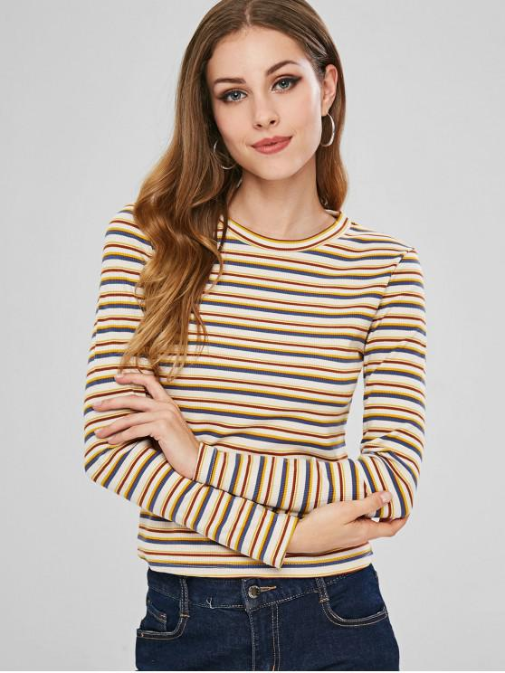 outfits Stripe Pattern Slim T-shirt - MULTI-A ONE SIZE