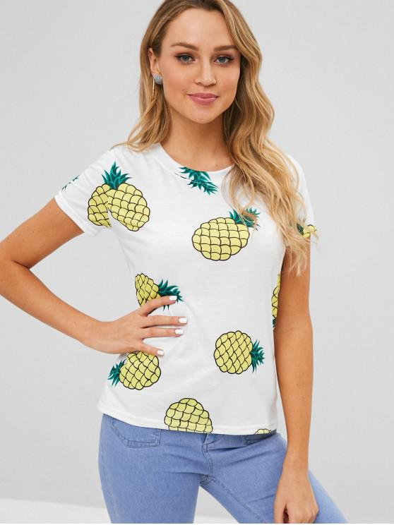 T-shirt Ananas Imprimé à Manches Courtes - Blanc L
