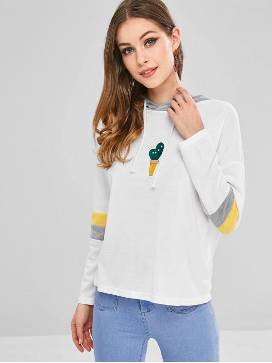 shops Colorblock Embroidered Drop Shoulder Hoodie - WHITE M