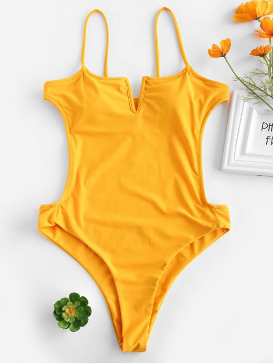 online ZAFUL High Cut Backless Thong Swimsuit - BEE YELLOW L