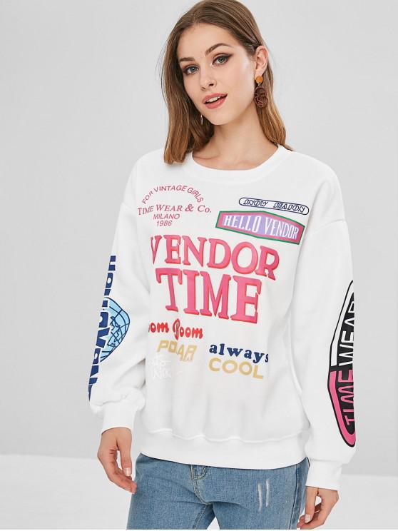 chic Printed Round Collar Fleece Sweatshirt - WHITE XL
