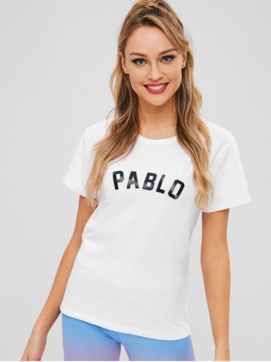 fancy PABLO Graphic Short Sleeves T Shirt - WHITE M