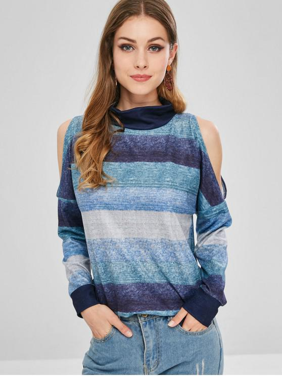 online Cold Shoulder Contrast Striped Sweatshirt - MULTI-A S