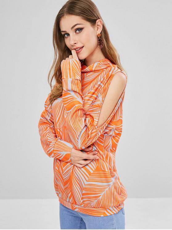 Sudadera con estampado de hojas de cuello alto - Naranja M