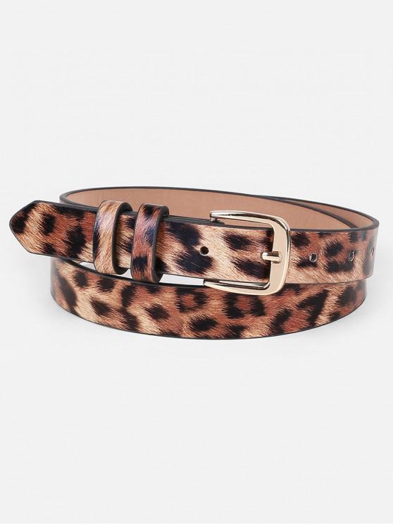 womens Leopard Faux Leather Skinny Belt - LEOPARD