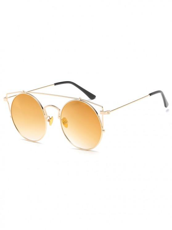 womens Anti Fatigue Metal Hollow Out Frame Round Sunglasses - CHAMPAGNE GOLD