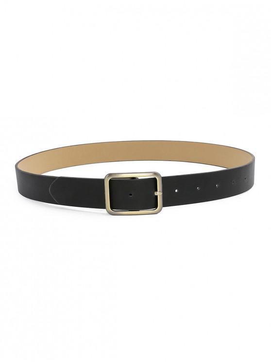 Metal Rectangle Buckle Faux Leather Waist Belt - أسود