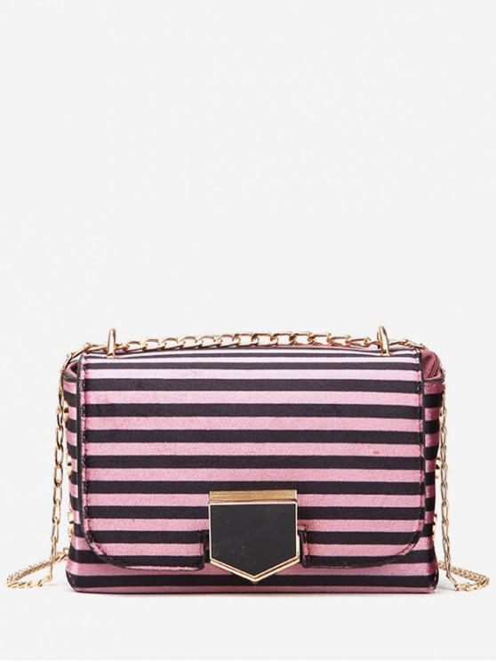 buy Striped Printed Link Chain Crossbody Bag - ROSE RED