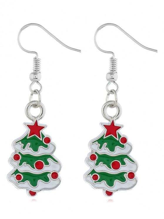 Embellished Christmas Tree Printed Hook Earrings - فضة