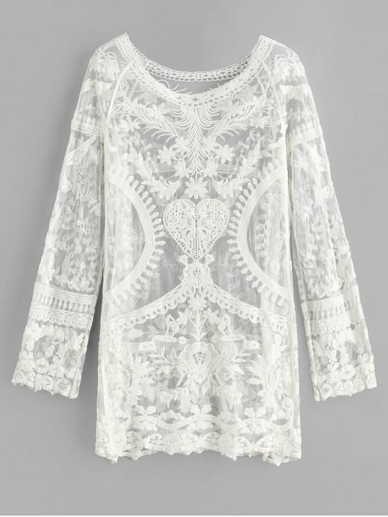 womens Crochet Raglan Sleeve Mini Beach Dress - WHITE ONE SIZE
