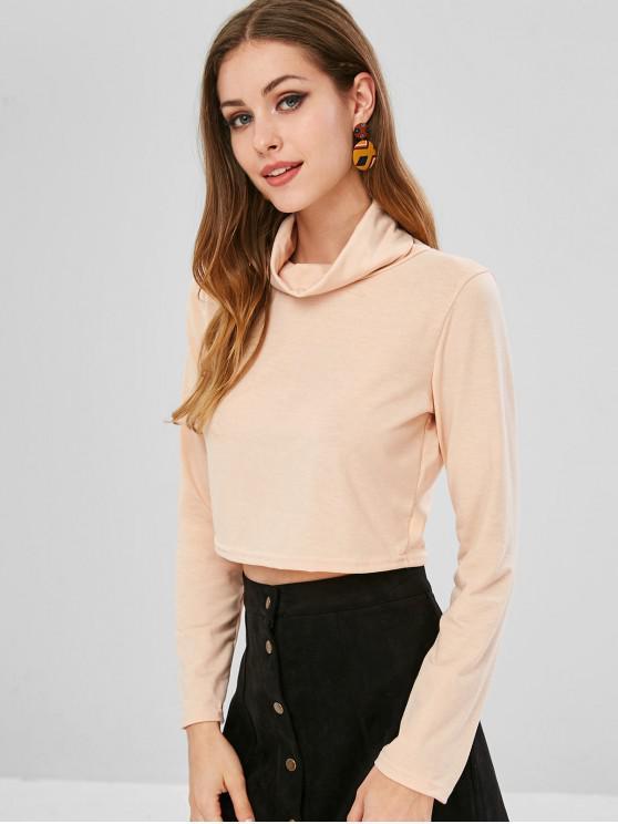 Camiseta con cuello liso de cuello redondo - Blanco Almendra L