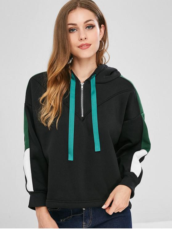 trendy Drawstring Half Zip Color Block Hoodie - BLACK XL