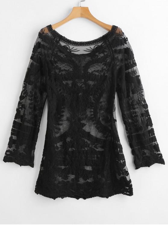 fancy Crochet Raglan Sleeve Mini Beach Dress - NIGHT ONE SIZE