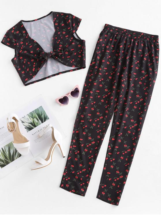sale ZAFUL Cherry Crop Top and Pants Two Piece Set - BLACK S