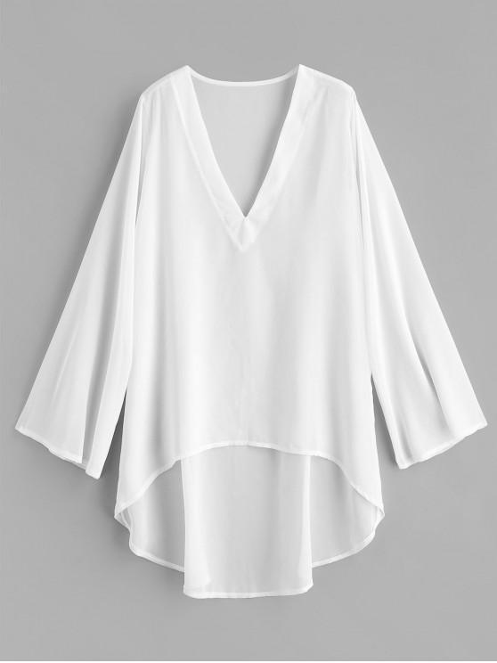 Chiffon alta baixa praia encobrir vestido - Branco Um Tamanho