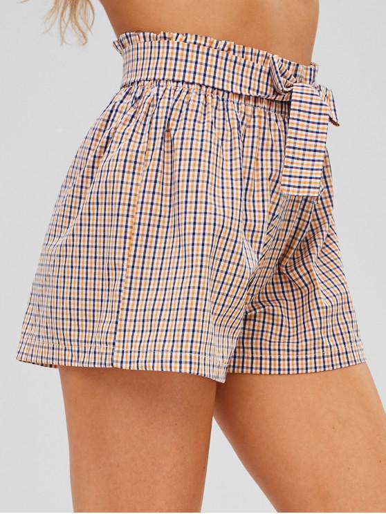 women Checkered Tie Waist High Waisted Shorts - MULTI-A S
