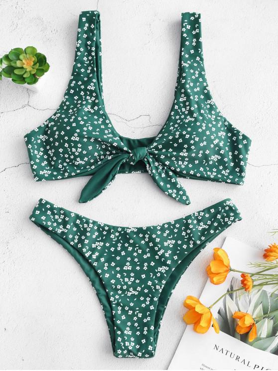 Bikini con Nudo De Cintura Baja Floral - Mar Verde Mediana S