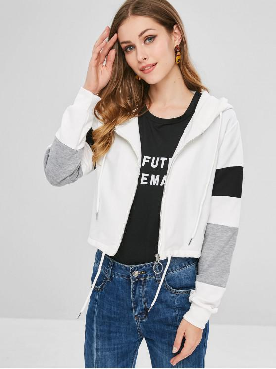 chic ZAFUL Color Block Zip Up Sport Hoodie - WHITE L