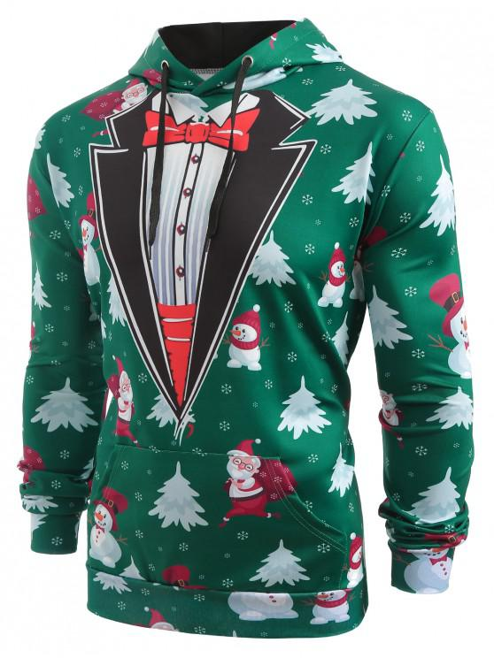 latest Faux Coallar Santa Claus Snowmen Printed Christmas Hoodie - PINE GREEN XL