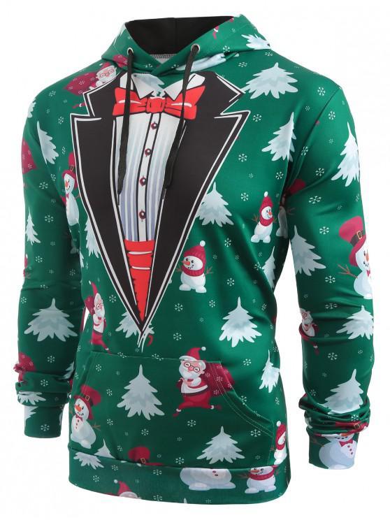 Os bonecos de neve de Papai Noel de Faux Coallar imprimiram o Hoodie do Natal - Verde de Pinho XL