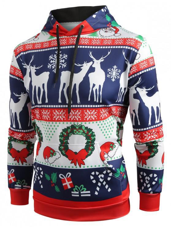 unique Christmas Pattern Printed Pullover Hoodie - COBALT BLUE M