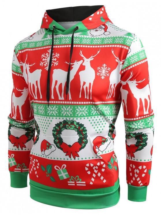 sale Christmas Pattern Printed Pullover Hoodie - RED 2XL