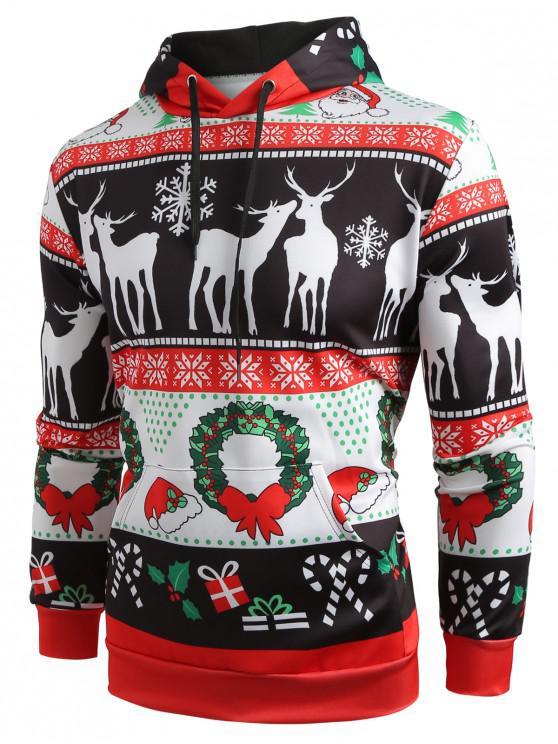 ladies Christmas Pattern Printed Pullover Hoodie - BLACK L