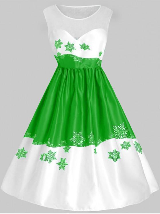 Plus Size Mesh Panel Snowflake Christmas Vintage Dress - Verde L