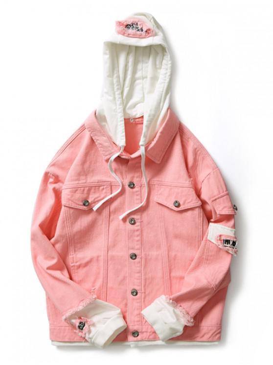 Casual bolso falso rasgado carta número Applique casaco com capuz - Rosa Claro M