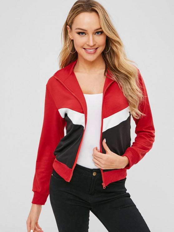 hot ZAFUL Colorblock Zip Up Sweatshirt - RUBY RED XL