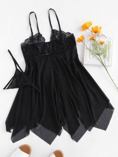 Lace Mesh Slip Sheer Babydoll - Black M