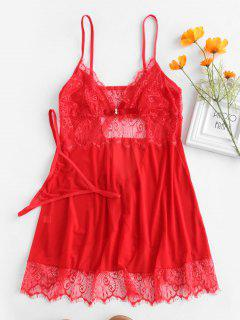 Mesh Cami Sheer Lace Babydoll - Red L