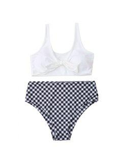 Plus Size Knotted Bikini Top With Plaid Bottoms - White 3xl