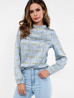 Blouse En Satin à Imprimé Crochet - Bleu Léger  L