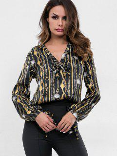 Watches Chains Print Bowknot Blouse - Black L