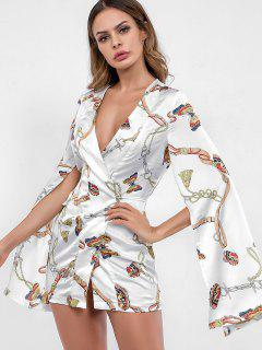 Slit Sleeves Butterfly Print Wrap Dress - White M