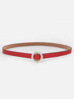 Elegant Faux Pearl Buckle Dress Belt - Red