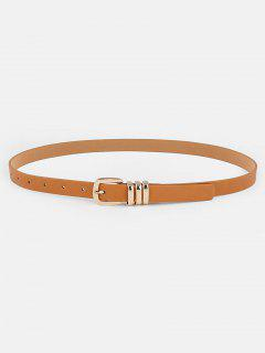 Simple Metal Buckle Faux Leather Skinny Belt - Camel Brown
