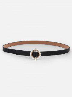 Elegant Faux Pearl Buckle Dress Belt - Black