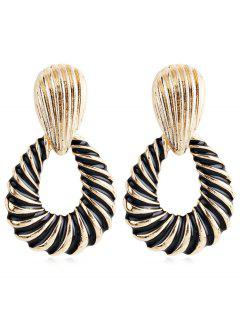 Geometric Screw Thread Printed Metal Earrings - Black