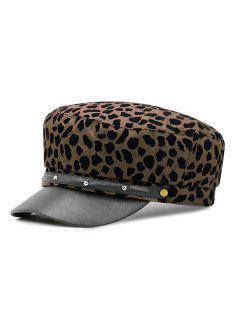 Stylish Leopard Print Flat Top Hat - Coffee