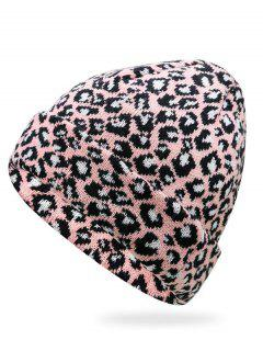 Stylish Leopard Flanging Knit Cap - Light Pink