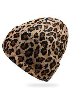 Stylish Leopard Flanging Knit Cap - Khaki