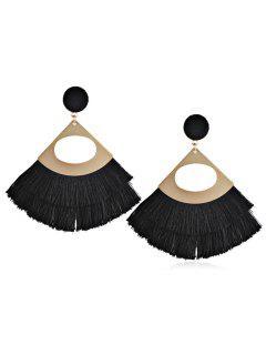 Bohemian Fanshaped Printed Tassel Earrings - Black