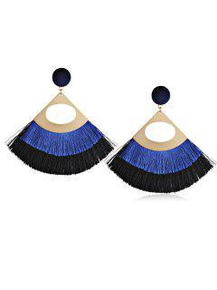 Bohemian Fanshaped Printed Tassel Earrings - Blue